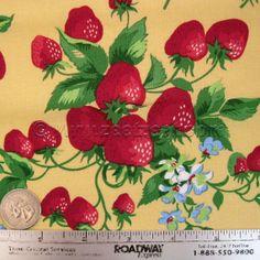 STRAWBERRY FAIR Yellow Strawberries Picnic by Windham fabrics ~ I LOVE anything strawberry, strawberry jam, strawberry dresses, strawberry shortcake, strawberry fabric, strawberry teacups...wild strawberries