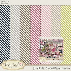 Quality DigiScrap Freebies: June Bride striped papers freebie from Ponytails Digital Designs