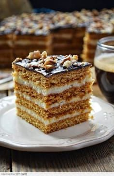 / Kitchen in green: Honey cake with creamy semolina (Stefanka) Polish Desserts, Polish Recipes, Cookie Recipes, Dessert Recipes, Decadent Chocolate Cake, Honey Cake, Cake Ingredients, Homemade Cakes, Sweet Recipes