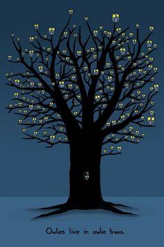 owl tree at night. Illustration Arte, Illustrations, Owl Tree, Tree Art, Photografy Art, Nanu Nana, Owl Pictures, Owl Always Love You, Owl Crafts