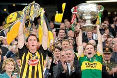 Kilkenny captain Michael Fennelly raises the Mc Carthy Cup while Kerry Captain Darren O'Sullivan holds aloft the Sam Maguire Mc Carthy, Hold On, The Past, Memories, Souvenirs, Naruto Sad, Remember This