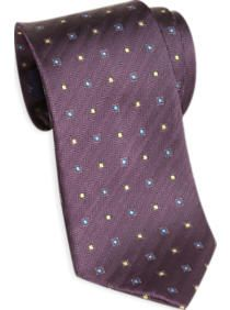 Egara Purple Herringbone with Squares Narrow Tie