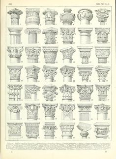 Architectural drawing - capitals of different column orders and designs: