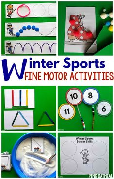 Winter Sports Fine Motor Activities!  Perfect activities for the winter games and all winter long!  Prep these fine motor activities once and use over and over again.  Great fine motor activities for preschool and kindergarten. Fun fine motor activities for occupational therapy as well!