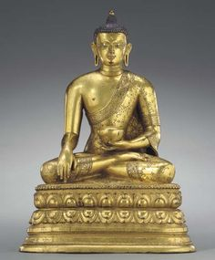 17th-18th century, Mongolia, Shakyamuni, gilt copper alloy and pigment, private collection.
