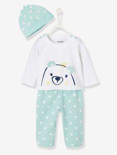 Ensemble bébé T-shirt + bonnet + pantalon molleton - Gris chiné / marine rayé+Vert imprimé - 5