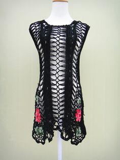 Black Crochet Floral Dress Women Sleeveless by TinaCrochet2016