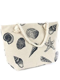 "Seashell Tote Bag with interior slip pocket and zipper closure. 20"" WIDE 13"" TALL 5"" DEEP 9"" HANDLE DROP 65% COTTON 35% POLYESTER"
