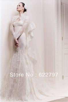 Aliexpress.com : Buy 2013 Real Sample Zuhair Murad New Fashion Vintage Muslim Lace princess Half Sleeve Bow Wedding Dresses Bridal Gowns Custom Made from Reliable dress custom made suppliers on leader bridal's store $245.00