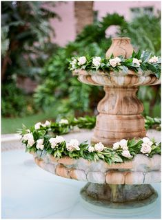 Elegant and Classic Florida Wedding at the Vinoy Flower garland's everywhere – even in the fountain for a truly whimsical wedding. Whimsical Wedding, Chic Wedding, Floral Wedding, Wedding Flowers, Wedding Blog, Wedding Arches, Ethereal Wedding, Wedding Colours, Wedding Shit