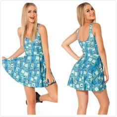 Wholesale New 2014 Women Brand Summer Blue Robot Milk Adventure Dress,Ladies Sexy Mini Causal Beach Dress Free Shipping S M L $24.05