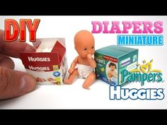 DIY Diapers Miniature Pampers and Huggies Dollhouse - YouTube