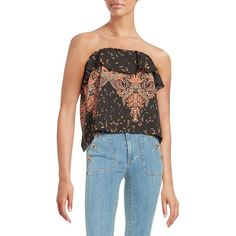 Free People Printed Crop Top ($38) ❤ liked on Polyvore featuring tops, black combo, free people tops, pattern tops, print top, print crop top and sleeveless tops