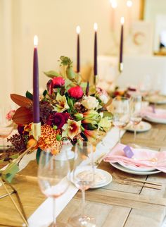 #gold, #tablescapes, #thanksgiving, #holiday, #centerpiece, #flowers, #floral-arrangement, #candle, #purple Photography: White Loft Studio - whiteloftstudio.com View entire slideshow: Radiant Orchid Fall Wedding Details on http://www.stylemepretty.com/collection/626/