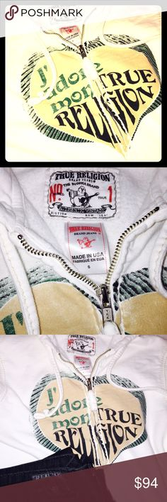 """TRUE RELIGION®AUTHENTIC VTG ZIP HOODY HEAVYWEIGHT 100% AUTHENTIC VINTAGE TRUE RELIGION® CLASSIC HOODY LKE  NEW S HEAVYWEIGHT. White Background Fabric. W Cream Satin Stitching and Heart in Tan w Outer Ring of Heart&  Black Lettering """"J'adore mon TRUE RELIGION"""" Full Length Zipper Closure ALL on Front. Back Is a plain White w Cream Satin Stitching around Trim, Wrists, Hood, Tag& Ribbed Waist Line RN#112790 CA#30427 Made in USA Tour NO.1. NA miss ke®4 exp plz. Similar in quality and designer…"""