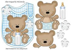 Cute little bear on blue bib with his bottle on Craftsuprint - Add To Basket!