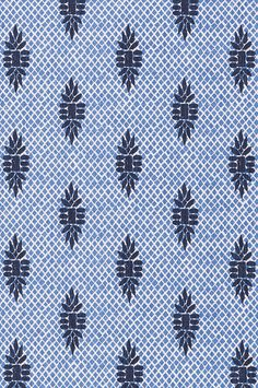 Lacefield Boca Wedgewood Blue Block Print Designer Fabric by the Yard. Perfect for drapery or upholstery projects. 100% Cotton. Printed in USA.