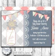 Grey Gingham Baby Shower Invitation New Baby White by SparkalParty, $15.00