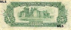 billete de 5 colones,,,ruinas de antigua parroquia de cartago.