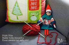 """Elf knits himself an ugly Christmas sweater  Needing ideas for a FUN Ugly Christmas Sweater Party check out """"The How to Party In An Ugly Christmas Sweater"""" at Amazon.com"""