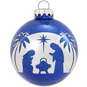 Holy Family Silver Arch Blue Glass Sparkle...