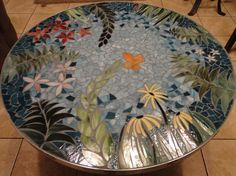 In The Garden I stained glass mosaic table with by TRWmosaics