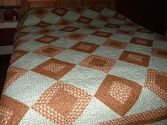 Queen Green Brown Quilt Quiltsy Handmade Mint Green by HollysHutch
