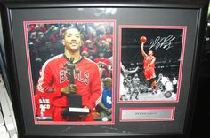 DERRICK ROSE AUTOGRAPHED 8x10 Framed PHOTO Collage Chicago Bulls MVP Global GAI