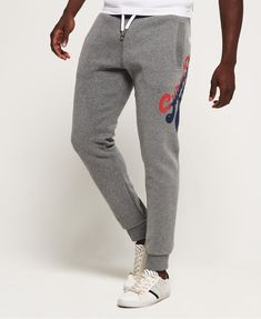 Shop Superdry Mens Vintage Logo Tri Colour Joggers in Dark Trophy Grey Marl. Buy now with free delivery from the Official Superdry Store. Vintage Logo, Vintage Men, Wardrobe Makeover, Mens Sweatpants, Superdry Mens, Grey Joggers, Adidas Outfit, Plus Size Shorts, Black Lace Tops