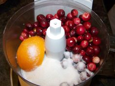 Cranberry relish REALLY EASY- 1 WHOLE ORANGE,  1 1/2 cups of cranberrys, 3/4 c sugar  that's it!!!!