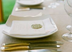 gold wax seal menus | Jen Fariello + Easton Events #wedding