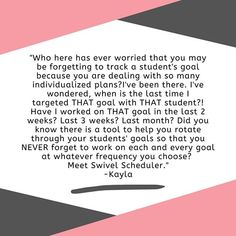 Have you ever woken up in a panicked sweat at 3 am because you forgot to track a student's goal? Or maybe you can't remember what goal needed to be updated for the student's IEP? 😳Yeah...so have we. Don't feel bad! ⁣  ⁣  Kayla felt the same way... until SWIVEL walked into her SLP practice! Now SWIVEL is rotating all of her student goals for her. SLP life = made easier! Want to see more for yourself! Head over to swivelscheduler.com to learn more!