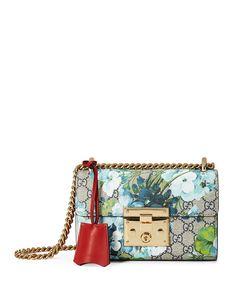 Padlock GG Blooms Shoulder Bag, Blue/Multi