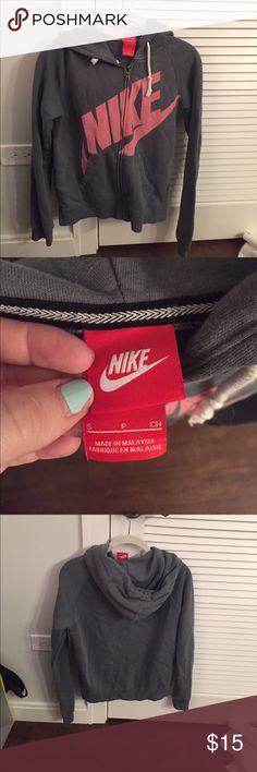 Nike zip-up hoodie Nike steel blue zip up hoodie with pink Nike logo. Single layer - lightweight. Size small. Nike Tops Sweatshirts & Hoodies