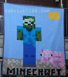 Minecraft Quilt DIY project - Zombie Steve by fabric.bliss, via Flickr