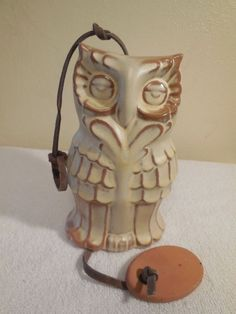 Owl Wind Bell (#W5) by Frankoma in Desert Gold, ca. 1980s.