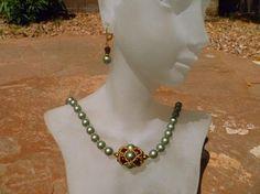 """Powder Green Swarovski """"Crystal"""" Pearl Necklace Set - Subtle Elegance"""