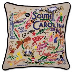 Wow! From the Charleston on the Atlantic Ocean to the Blue Ridge Mountains - this original design celebrates the great State of South Carolina and doesn't miss anything. University of South Carolina?