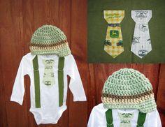 Get The Set  John Deere Boys Tie Onesie or Shirt by shopantsypants, $34.00