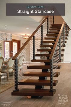 A straight stair stringer is a specific type of metal mono-stringer that rises without changing direction. It supports the treads, posts, and handrail on your floating stair system––as well as the design. The straight stair is perfect for open-conc Staircase Architecture, Floating Staircase, Staircase Railings, Staircase Metal, Spiral Staircases, Interior Architecture, The Loft, Patio Interior, Interior Stairs