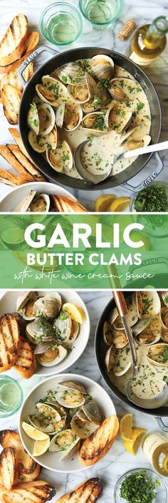 Garlic Butter Clams with White Wine Cream Sauce - Damn Delicious Clam Recipes, Seafood Recipes, Appetizer Recipes, Cooking Recipes, Appetizers, Shellfish Recipes, Diabetic Recipes, Lunch Recipes, Dinner Recipes