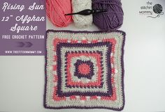 Rising Sun 12 Inch Afghan Square - Free Crochet Pattern| Block 15 #MooglyCAL2016 | http://www.thestitchinmommy.com