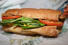 Subway Veggie Delite Sandwich with Veggie Burger.  Great  for a fast food treat