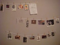 Great idea for hanging pictures in a very customizable way.