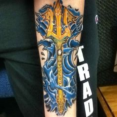 "My second tattoo, ""Poseidon's Trident"". Done by George ""Cruz"" Fuerte at 3rd Dimension Tattoos in De Pere, Wisconsin."