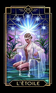 Tarot Drawing - Le Etoile by Ciro Marchetti Tarot Cards Major Arcana, Star Tarot, Age Of Aquarius, Tarot Card Decks, Tarot Readers, Oracle Cards, Fantasy Art, Illustration Art, Photos