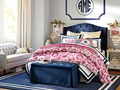 Find cute and cool girls bedroom ideas at Pottery Barn Teen. Shop your dream room with our teen room inspiration and ideas. Girls Bedroom Furniture, Grey Furniture, Home Bedroom, Bedroom Ideas, Bedroom Inspiration, Bedroom Wall, Preppy Bedroom, Bed Wall, Bedroom Colors