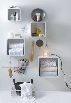 Little white wall cubes #bathroom