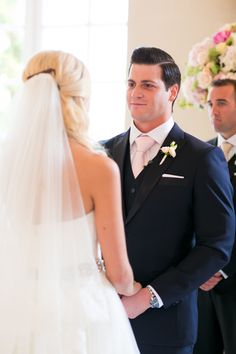 Groom in Navy Suit and Pink Tie | photography by http://oneandonlyparisphotography.com/