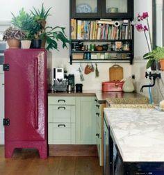 Boho kitchen with awesome fridge - modern boho design